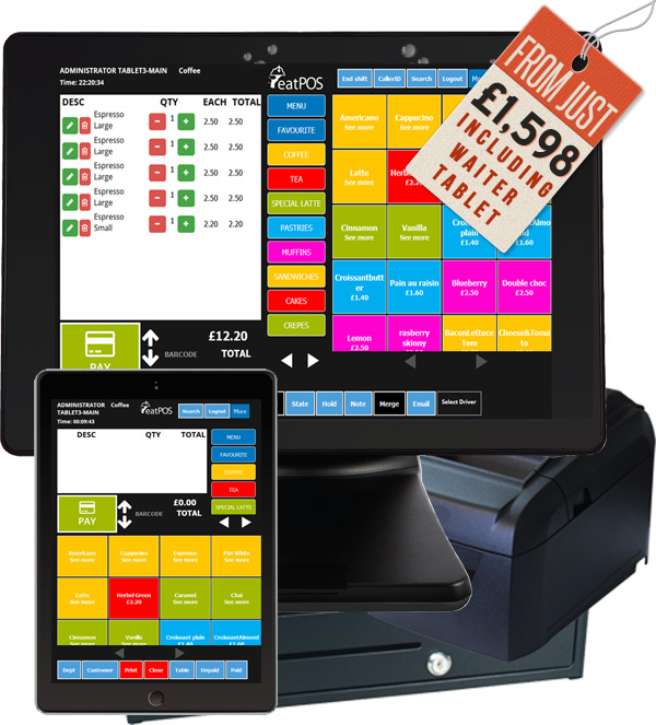 EPOS system cash drawer, printer, touchscreen terminal aures, free waiter pad