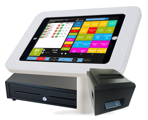 tablet epos pos on stand secure locks