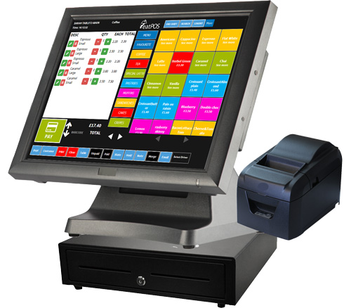 eatPOS EPOS system terminal with cash drawer and 80mm printer
